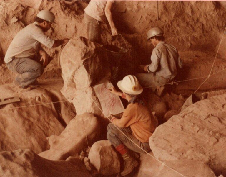 Imagem da escavação da Múmia Acauã. Fonte: IAB